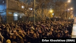 Rally in front of Sharif University in Tehran to protest the deception of the public about the cause of the crash of Ukraine's Flight PS752. January 11, 2020.