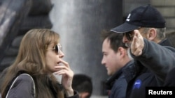 Angelina Jolie (left) has already begun shooting for the film in Budapest.