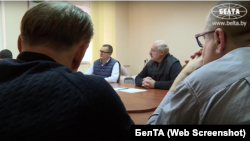 Alyaksandr Lukashenka is shown meeting with jailed opponents on October 10.