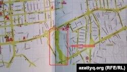 Центральное кладбище на карте города в путеводителе «Туристический Алматы».