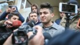 Azerbaijan. Baku. Azerbaijani blogger Mehman Huseynov talking to journalists after court 10 january 2017