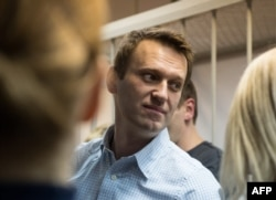 Navalny at a court in Moscow on December 30, 2014