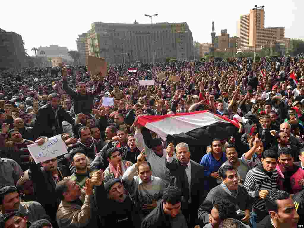 Protesters mass in central Cairo on January 29.
