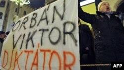 Акцыя пратэсту ў Будапэшце супраць новай Канстытуцыі 2 студзеня