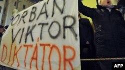 Будапешт, 2 января: митинг против премьер-министра Венгрии Виктора Орбана