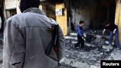 В одном из кварталов города Хомс