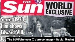 Фрагмент первой полосы британского таблоида с архивным снимком.