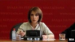 Архивска фотографија: Министерката за култура Елизабета Канческа-Милевска дава отчет за проектот Скопје 2014 на прес-конференција во владата на 22 април 2013