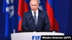 Президент Росії Володимир Путін на Конгресі ФІФА, Москва, 13 червня 2018 року