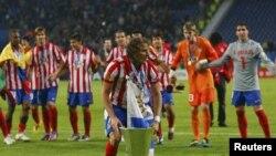 """Мадридский """"Атлетико"""" празднует победу в Лиге Европы, май 2010 г"""