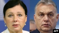 "European Commission Vice President Vera Jourova (left) said Hungarian Prime Minister Viktor Orban ""likes to say he is building an illiberal democracy. I would say he is building an ill democracy."""