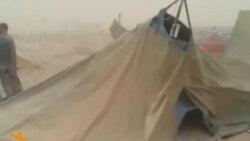 عاصفة ترابية تدمر خيم النازحين