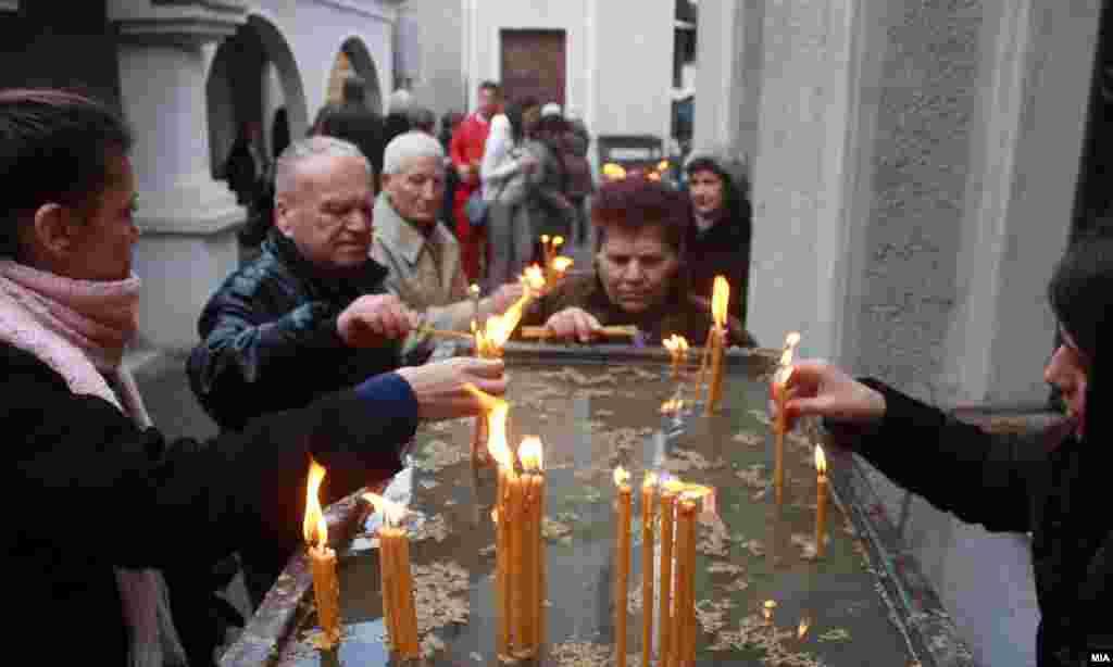 Christmas service in St. Petka Church in Skopje, Macedonia.