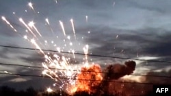 Russian NTV screen grab of a blast at an arms depot outside the central Russian city of Ulyanovsk on November 13