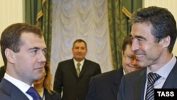 Russian President Dmitry Medvedev (left) meets with NATO Secretary-General Anders Fogh Rasmussen in Moscow in December 2009.