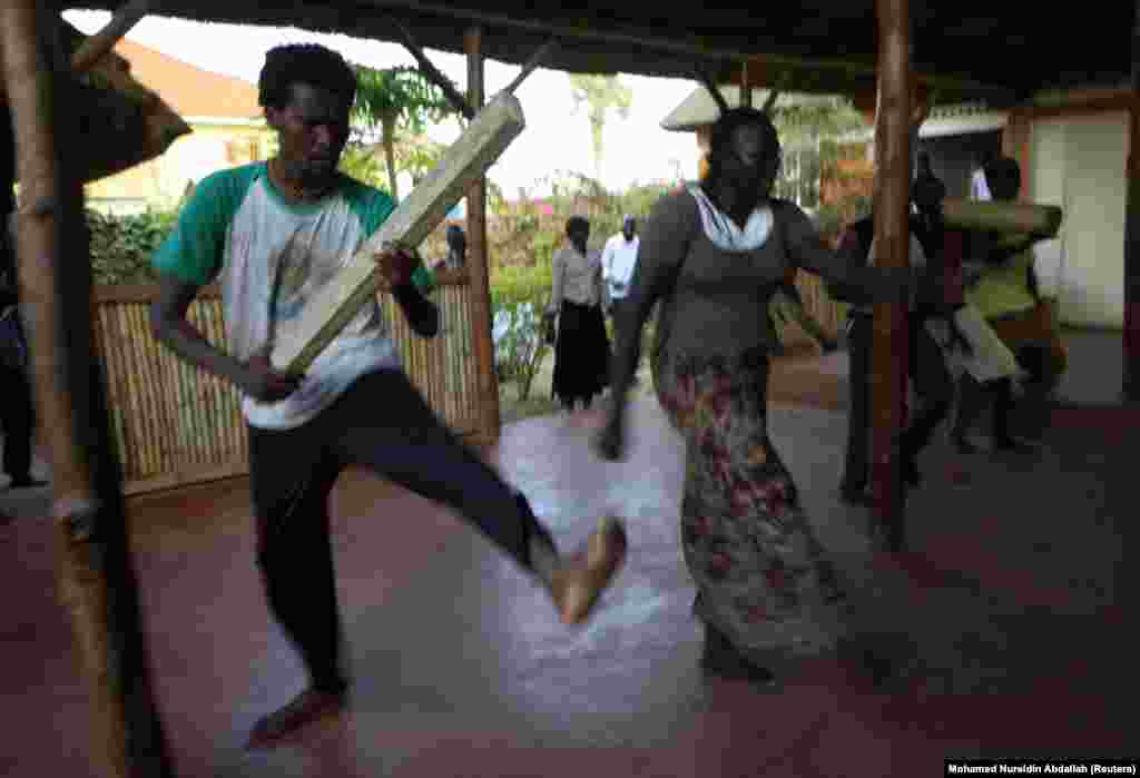 Actors from the South Sudan Theater Company rehearse ahead of the World Shakespeare Festival in Juba.