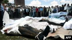Dead bodies laid out after Uzbek forces opened fire on protestors in the city of Andijon in 2005.