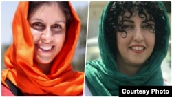 Nazanin Zaghari-Ratcliffe (L) is a British-Iranian dual citizen who has been detained in Iran since April 2016. Narges Mohammadi is a distinguished Iranian human rights defender, a supporter of the anti-death penalty.