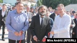 Milorad Dodik, Emir Kusturica i Aleksandar Vučić na otvaranju Andrićgrada, juni 2014