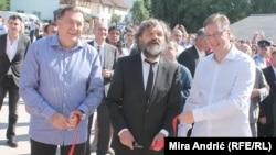 Milorad Dodik, Emir Kusturica i Aleksandar Vučić u Andrićgradu, juni 2014.
