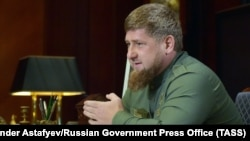 MOSCOW -- The head of Russia's Republic of Chechnya, Ramzan Kadyrov, during a meeting with the prime minister of Russia in the Gorki residence. MOSCOW REGION, RUSSIA - OCTOBER 13, 2017