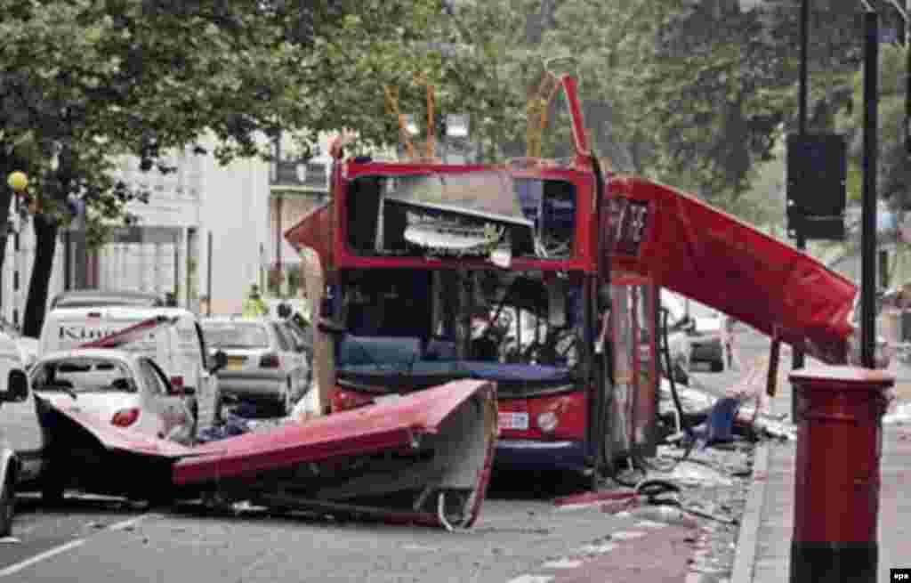 A bus destroyed in the July 7, 2005, terrorist attacks against the London transport system (epa) - In a rush-hour attack on July 7, 2005, two bombs exploded in the London metro and a third on a bus, killing 52 people and injuring more than 700. Most of the perpetrators are believed to have been Al-Qaeda-inspired British-Muslim citizens.