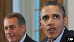 Барак Обама на бюджетных переговорах с Джоном Бойнером, сенатором-республиканцем от штата Огайо