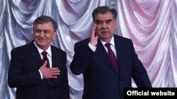 Эмомалӣ Раҳмон бо Шавкат Мирзиёев
