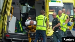 Patient rushed in ambulance after Christchurch mosque attack, New Zealand, March 15, 2019