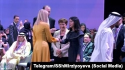 Иванка Тръмп (в гръб), президентката на Международния валутен фонд Кристалина Георгиева и Саида Мирзийоева на форум за правата на жените в Дубай през февруари 2020 г.