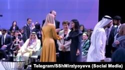Саида Мирзиёва, духтари президенти Узбекистон бо Иванка Трамп, духтари президенти ИМА дар Дубай мулоқот кард. 16-уми феврали 2020.