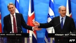 Benjamin Netanyahu (djathtas) dhe Philip Hammond gjatë konferencës së sotme për gazetarë në Jerusalem