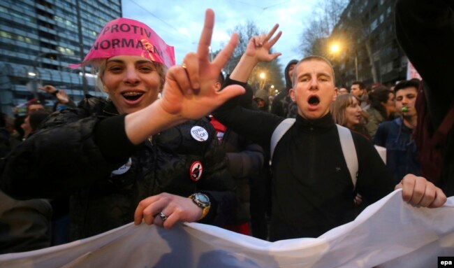 The protesters allege that Vucic and his Serbian Progressive Party stole the election.