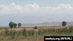 Техника, вспахивающая землю близ села Жайсан. Алматинская область, 26 июня 2017 года.
