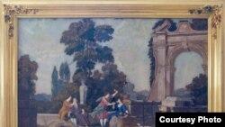 Аллегория «Осязание и обоняние»: «В сложнейшей технике флорентийской мозаики применялись поделочные и полудрагоценные камни – лазуриты, сердолики, драгоценные мраморы, агаты, яшмы»