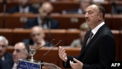 Ֆրանսիա – Ադրբեջանի նախագահ Իլհամ Ալիևը ելույթ է ունենում Եվրոպայի խորհրդի Խորհրդարանական վեհաժողովում, Ստրասբուրգ, 24-ը հունիսի, 2014թ.