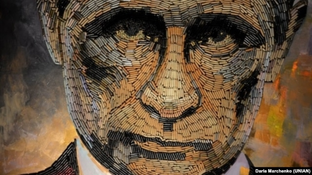 The face of a losing war -- on several fronts (Art: Vladimir Putin made of bullet cartridges by Ukrainian artist Daria Marchenko)
