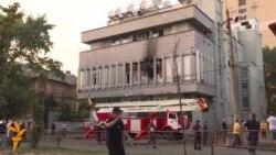 Zjarr në një stacion televiziv në Ukrainë