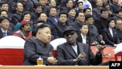 Former NBA star Dennis Rodman (right) met North Korean leader Kim Jong Un, a basketball fan, during his first visit to North Korea in February.