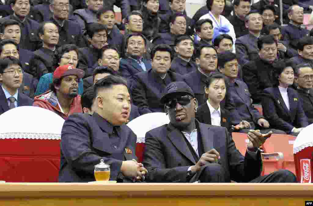 "North Korean leader Kim Jong Un (left) and former NBA star Dennis Rodman chat during a basketball game in Pyongyang, the North Korean capital, in February 2013. Rodman has become the most high-profile American to meet the young North Korean dictator. Rodman made a controversial return trip to Pyongyang on September 3 to ""hang out"" with the basketball-mad Kim, who Rodman says is ""awesome"" and a ""good friend."""