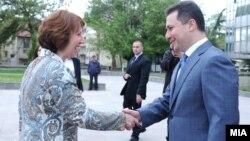 Премиерот Никола Груевски и шефицата за надворешна политика на ЕУ Кетрин Ештон во Скопје.