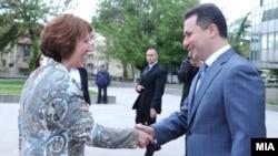 Премиерот Никола Груевски се сретна со шефицата за надворешна политика на ЕУ Кетрин Ештон во Скопје.