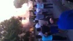 Uzbekistan - Public bus in fire, Tashkent