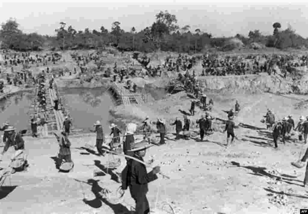 An undated photo of a forced labor camp in Cambodia during the rule of the Khmer Rouge (AFP) - The communist Khmer Rouge controlled Cambodia from 1975-79. An estimated 1.5 million people died of perseuction or starvation under their brutal rule -- of a total population of 7.5 million. The Khmer Rouge were ousted by an invasion from Vietnam in 1979.