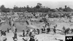 An undated photo of forced labor under the Khmer Rouge