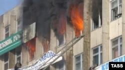 Пожар в офисе Сбербанка во Владивостоке