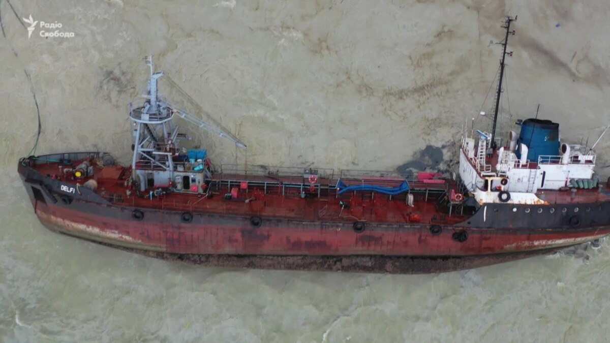 Место аварии танкера в Одессе – видео с дрона