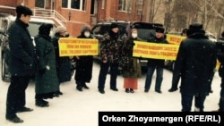 A group of around 15 people gathered in the capital, Astana, on January 11 to call for measures to prevent marriages between Kazakh women and foreigners.