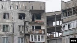 Зруйновані внаслідок обстрілу будинки. Маріуполь, 24 січня 2015 року