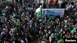 Supporters of the Pakistan Muslim League - Nawaz (PML-N) rally before the election (file photo).
